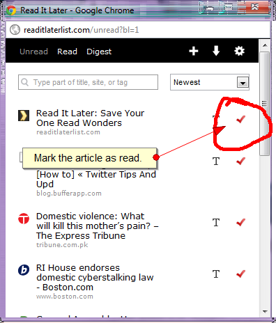Read It Later screen capture, using Fireshot for Chrome