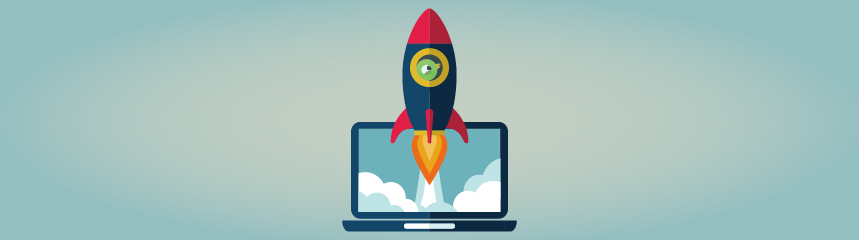 Rocket ship emerging from laptop screen