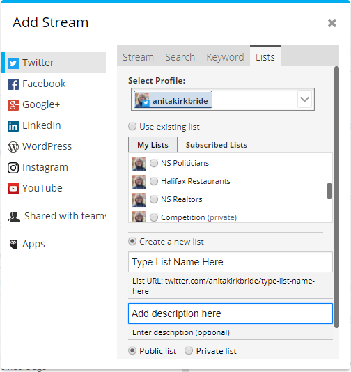 screencap of creating a twitter list in hootsuite