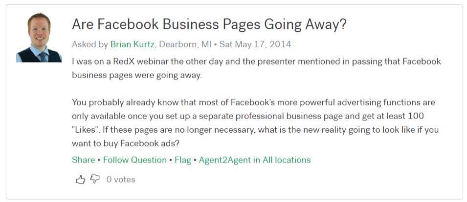 screenshot of question Are Facebook Pages Going Away from 2014