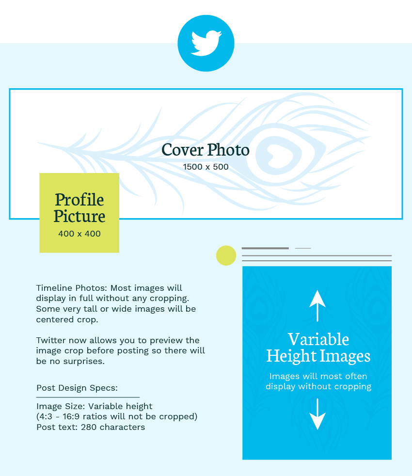 Twitter image sizes graphic