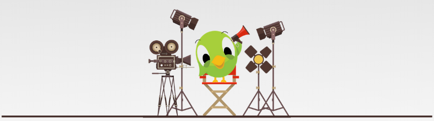 Social media bird on movie set with megaphone