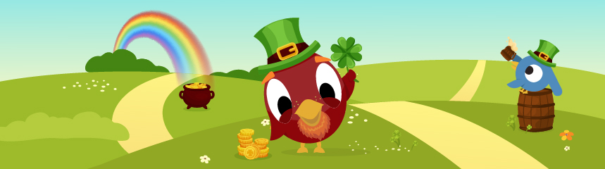 Cartoon leprechaun bird holding clover