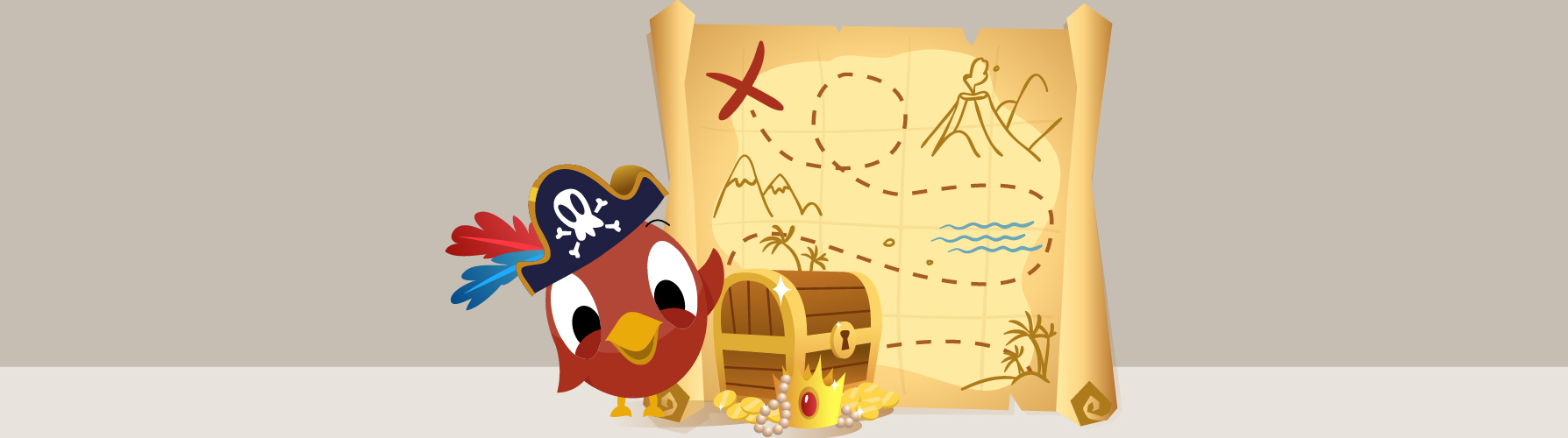 Pirate social media bird pointing to treasure on treasure map