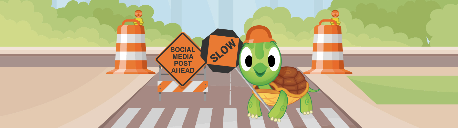 Cartoon turtle in construction gear at road crossing