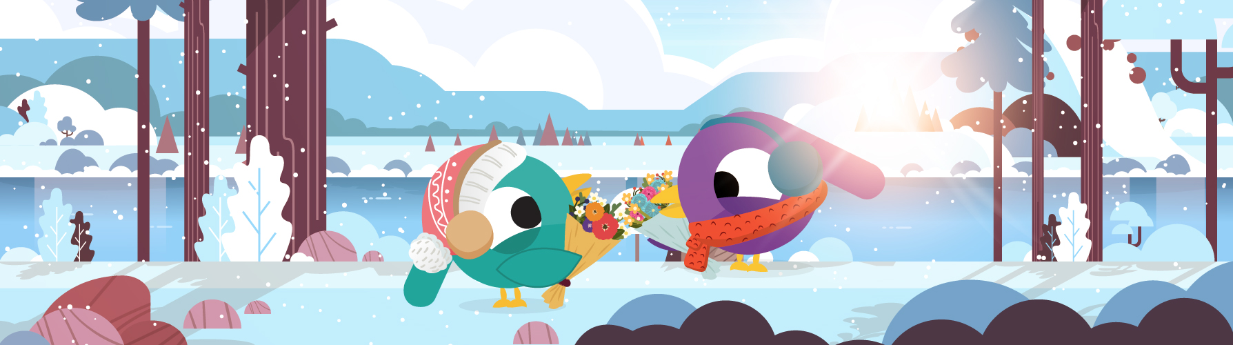 Couple of social media birds holding flowers on winter day